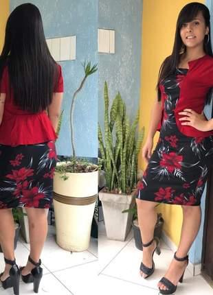 Vestido midi tubinho acinturado moda evangélica oferta promoção
