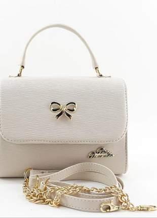 Bolsa feminina pequena de alça ou de mão com divisórias