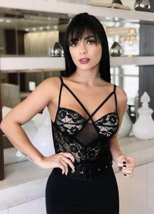 Body lingerie renda alça alcinha com bojo