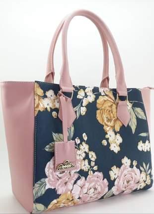 Bolsa feminina florida rosa grande