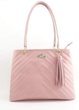 Bolsa rosa feminina média alça e transversal sintético lançamento