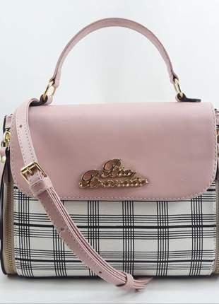 Bolsa feminina pequena xadrez rosa