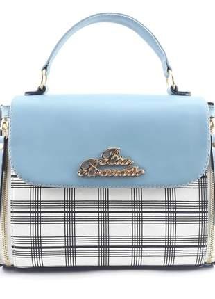 Bolsa feminina pequena alça transversal azul com xadrez