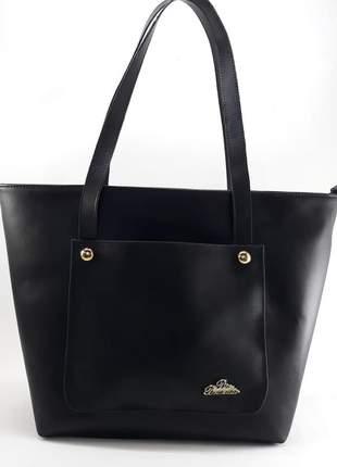 Bolsa preta feminina saco ou sacola grande de alça