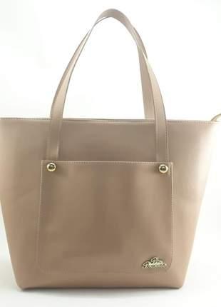 Bolsa grande sacola de alça bege com porta celular
