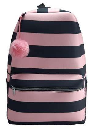 Mochila escolar fashion vegana grande rosa