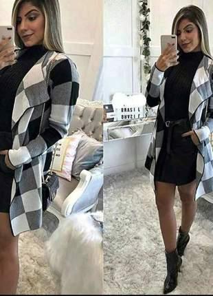 Kimono xadrex de tricot