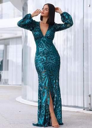 Vestido de festa longo verde esmeralda luxo