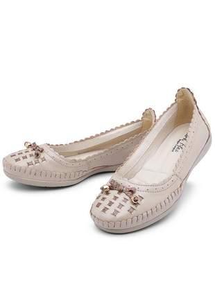 Sapatilha sapato feminino couro legítimo bege confort
