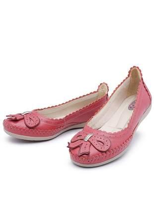 Sapato sapatilha feminina couro goiaba