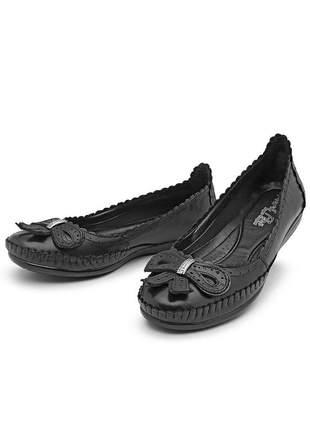 Sapatilha sapato de mulher feminino couro preto