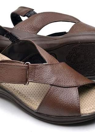 Sandália chinela ortopédico macia marrom 100% couro