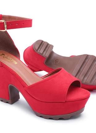 Sandália feminina salto alto de festa tratorada vermelha luxo
