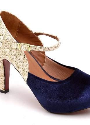 Sandália salto fino alto veludo azul e renda de festa