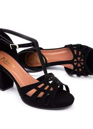 Sandália salto grosso médio preta linda