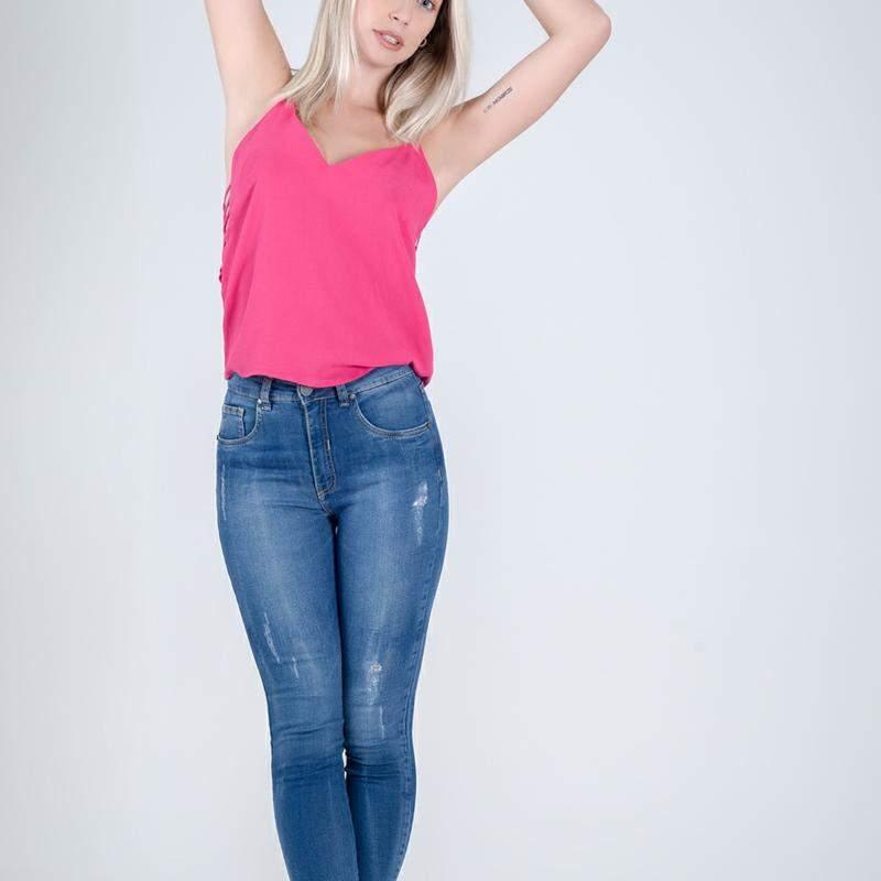 Calça aluza jeans estriada