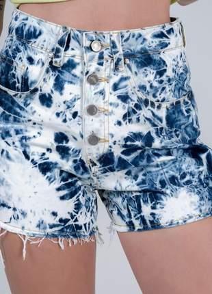 Short aluza jeans desfiado tie dye