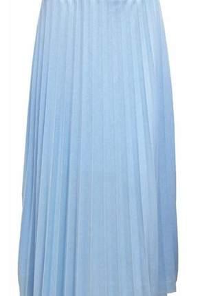 Saia plissada longa cintura alta azul claro