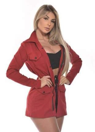 Parka casaco casaquinho blusa feminina botões acinturada longa inverno