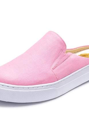Tênis feminino slip on mule rosa bebe