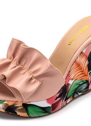 Sandália tamanco franzido napa rosa bebe salto color salmão