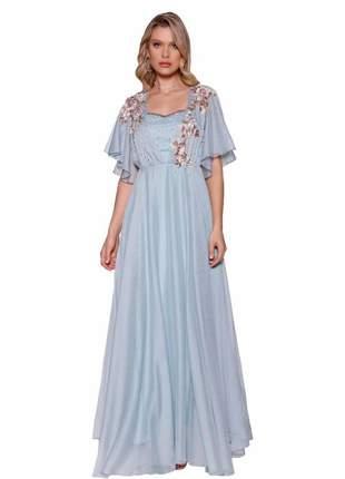 Vestido longo fasciniu's bordado pedraria moda evangélica