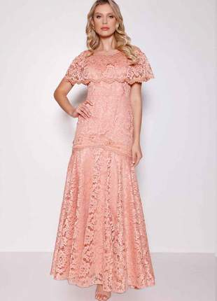 Vestido fascinius rendado bordado longo moda evangélica