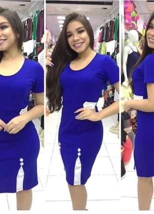 Vestido midi azul social festas igreja juvenil qualidade moda evangélica promoção