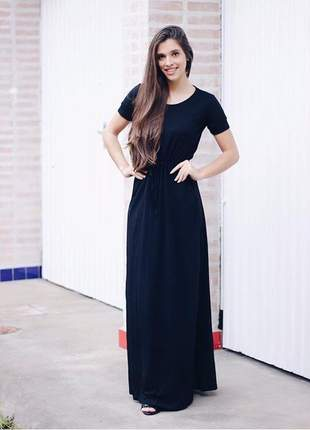 Vestido longo casual liso manga curta ajuste na cintura