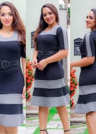 Vestido feminino social com babado crepe qualidade epecial lindo moda evangélica promoção