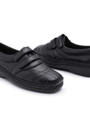 Sapato sapatilha feminina couro para diabéticos confort