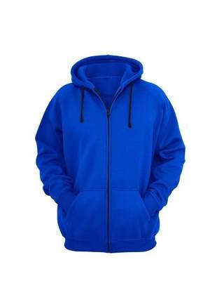 Moletom casaco capuz zíper azul