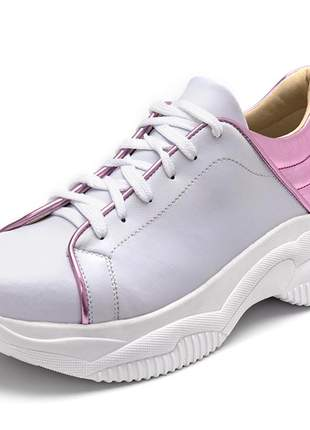Tênis sneakers chuncky napa branca detalhe rosa metalizado