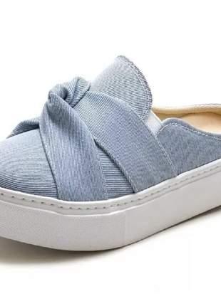 Tênis casual slip on mule babuche jeans azul confortavel