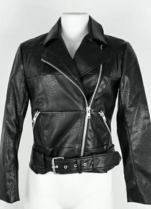 Jaqueta de couro sintético feminino preta bb dakota