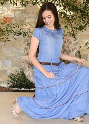 Vestido jeans longo infantil 3 marias roupas evangelicas