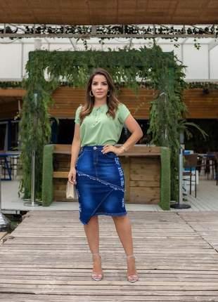 Saia feminina jeans midi destroyed desfiada moda evangelica