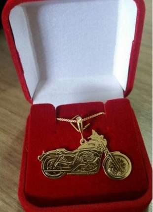 Pingente moto harley davidson, folheada a ouro 18k semijoia