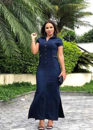 Vestido jeans longo feminino com detalhes zíper botões e abertura lateral