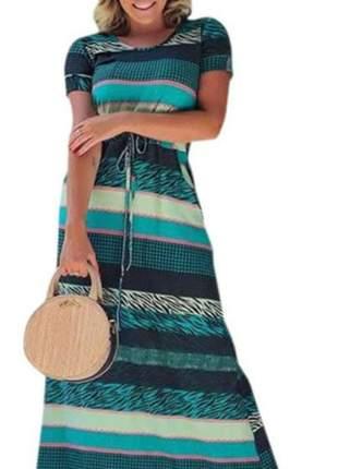 Vestido feminino longo ajuste na cintura estampado verde