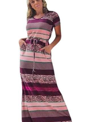 Vestido feminino longo listrado manguinha viscolycra