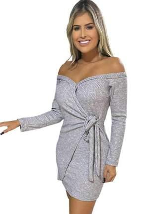 Vestido feminino manga longa transpassados laço de amarrar ombro a ombro