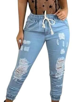 Calça jeans boyfriend feminina jogger rasgadinha cordão skiny