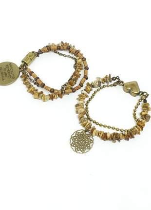 Kit de duas pulseiras ouro velho com pedras naturais de jaspe madeira
