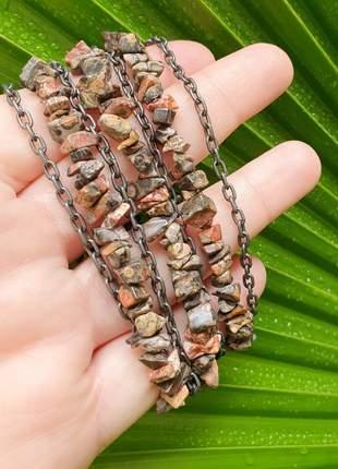 Pulseira prata velha de pedra semipreciosa de jaspe leopardo natural