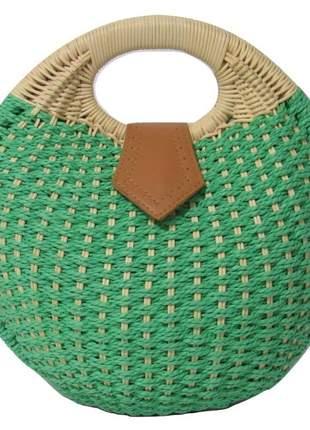 Bolsa de palha redonda de mão verde