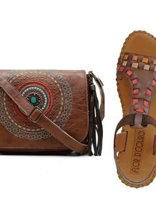 Kit sandália feminina rasteira + bolsa mandala dia a dia confort anti derrapante