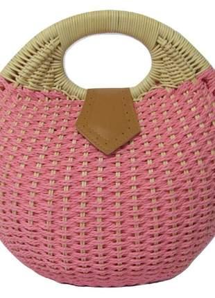 Bolsa de palha redonda de mão rosa