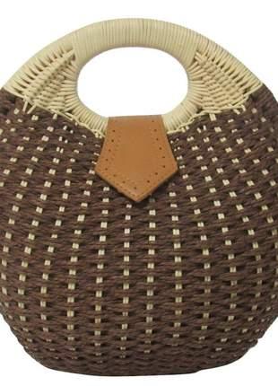 Bolsa de palha redonda de mão marrom