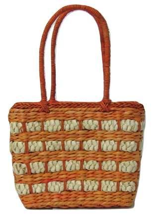 Bolsa de palha crua de mão laranja